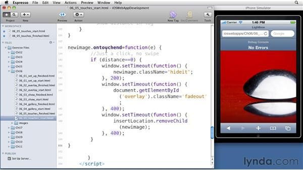 Adding iOS touch controls: iOS 4 Web Applications with HTML5 and CSS3