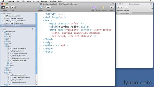 Playing audio: iOS 4 Web Applications with HTML5 and CSS3