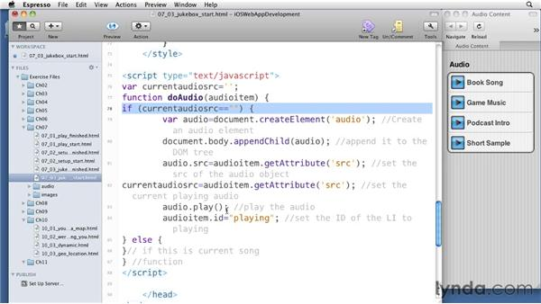 Using JavaScript to control audio: iOS 4 Web Applications with HTML5 and CSS3