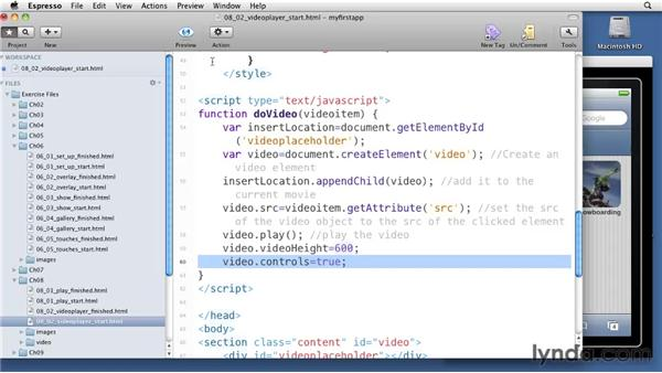Creating a video player: iOS 4 Web Applications with HTML5 and CSS3