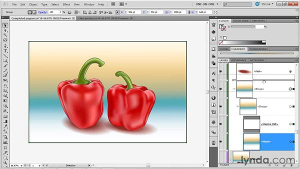 Converting a linear gradient to a mesh: Illustrator CS5 One-on-One: Mastery