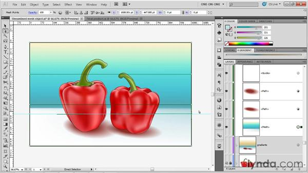Editing a linear gradient mesh: Illustrator CS5 One-on-One: Mastery
