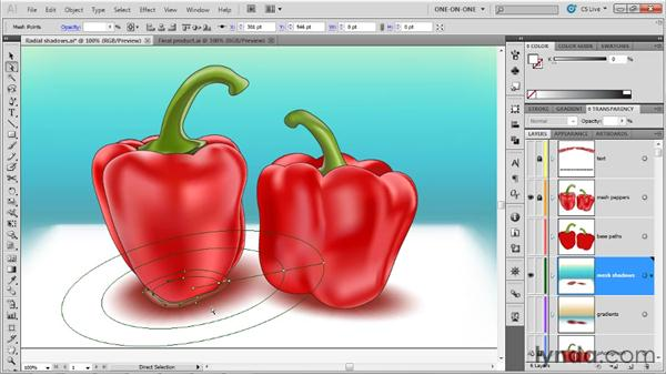 Editing a radial gradient mesh: Illustrator CS5 One-on-One: Mastery