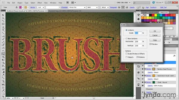 Formatting and scaling brushed text: Illustrator CS5 One-on-One: Mastery