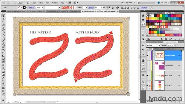 Tiling pattern vs. pattern brushes: Illustrator CS5 One-on-One: Mastery