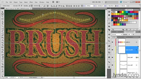 Combining a text brush with the Width tool: Illustrator CS5 One-on-One: Mastery