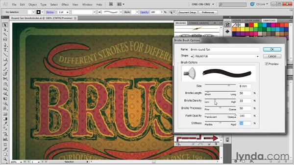 Adjusting the hairs in a bristle brush: Illustrator CS5 One-on-One: Mastery