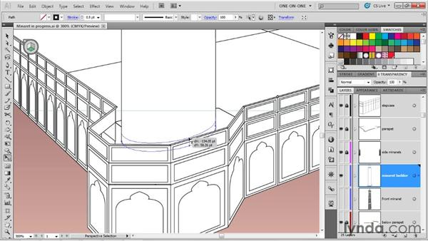 Duplicating a series of perspective paths: Illustrator CS5 One-on-One: Mastery