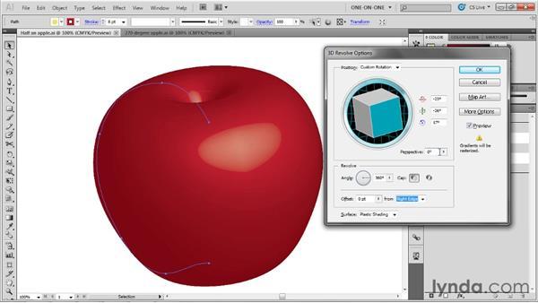 The 3D Revolve settings: Illustrator CS5 One-on-One: Mastery