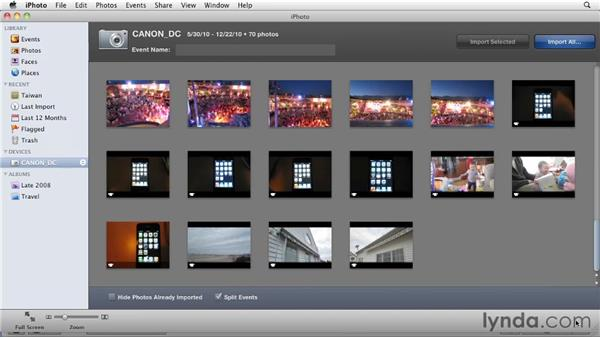 Importing from a digital still camera: iMovie 11 Essential Training