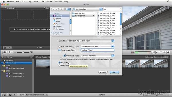 Importing from other sources: iMovie 11 Essential Training