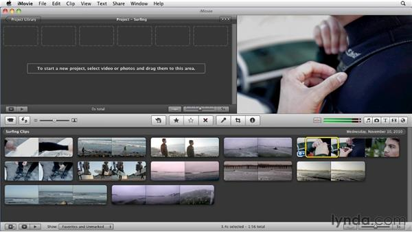 Selecting and adding clips to a project: iMovie 11 Essential Training