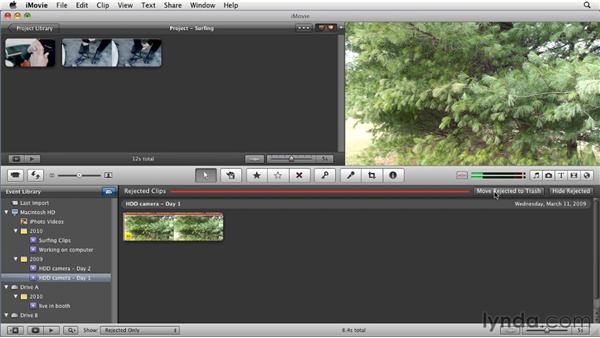 Deleting unwanted clips from your hard drive: iMovie 11 Essential Training