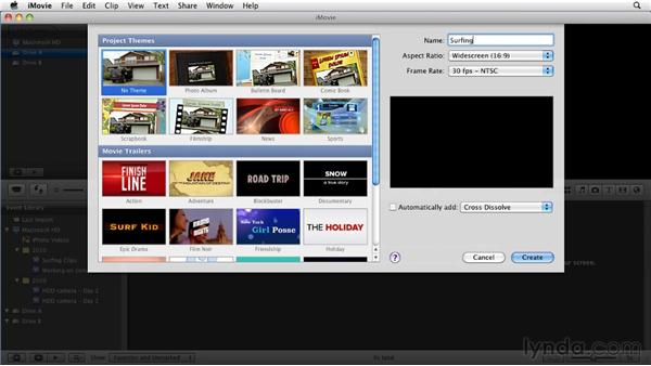 Creating a new project: iMovie 11 Essential Training