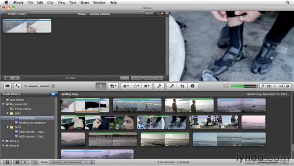 Adding clips to the project: iMovie 11 Essential Training