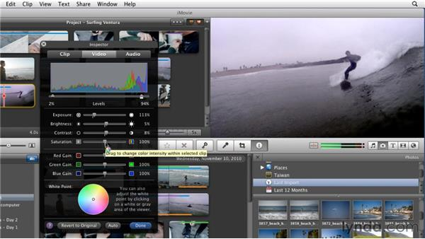Adjusting color: iMovie 11 Essential Training