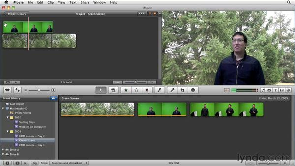 Using green screen effects: iMovie 11 Essential Training