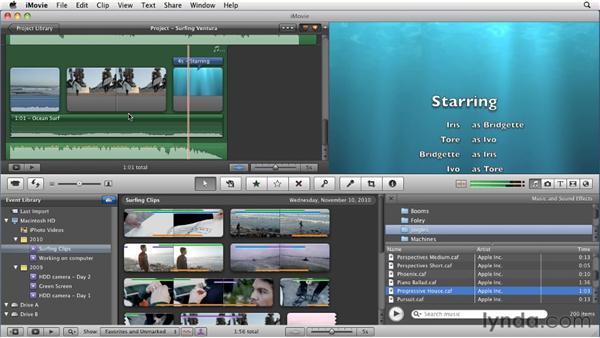 Adding background music: iMovie 11 Essential Training