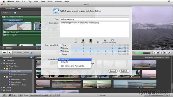 Publishing to a MobileMe web gallery: iMovie 11 Essential Training