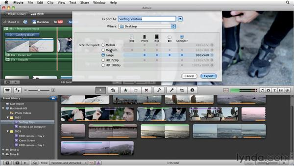 Exporting QuickTime movies: iMovie 11 Essential Training