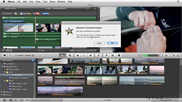 Changing published projects: iMovie 11 Essential Training
