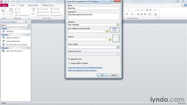 Saving application parts: Access 2010 Power Shortcuts