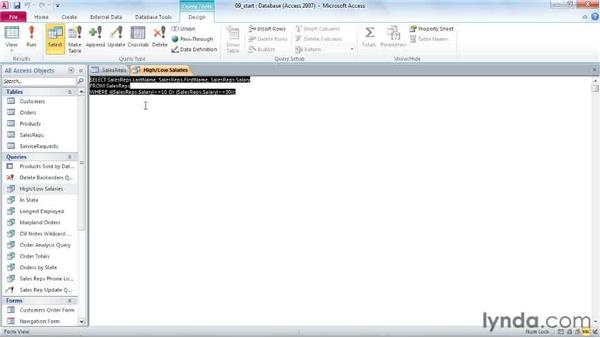 Using SQL statements: Access 2010 Power Shortcuts