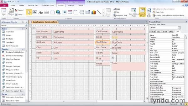 Creating tabbed form layouts: Access 2010 Power Shortcuts