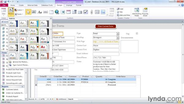 Using themes to customize the look of the database: Access 2010 Power Shortcuts