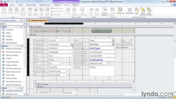 Grouping controls on forms and reports: Access 2010 Power Shortcuts
