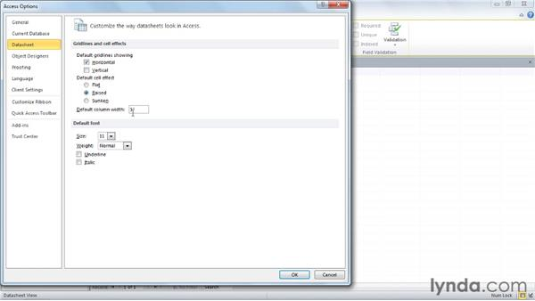 Setting default appearance for new databases: Access 2010 Power Shortcuts