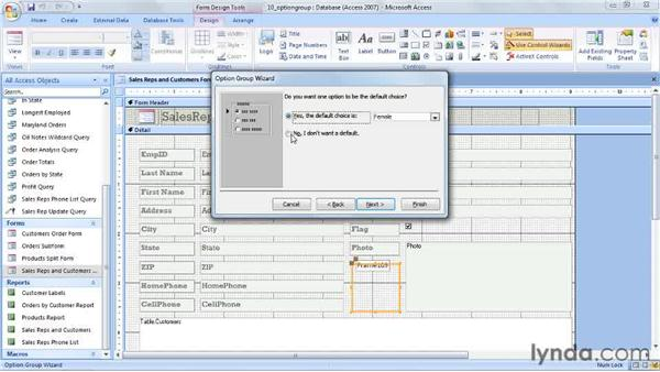 Creating option groups: Access 2007 Power Shortcuts