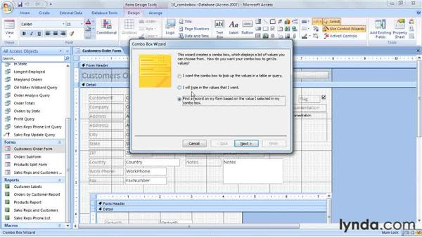 Using a ComboBox to select a record: Access 2007 Power Shortcuts