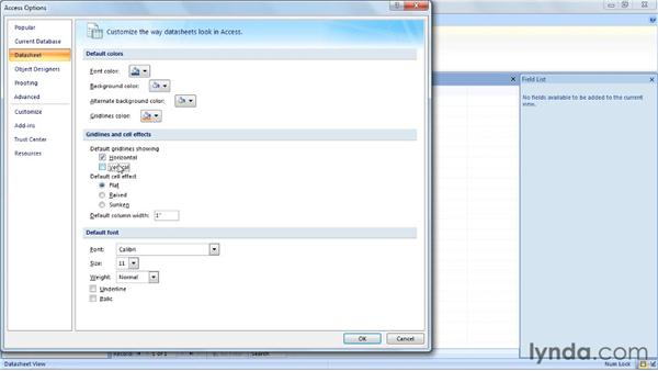 Setting default appearance for new databases: Access 2007 Power Shortcuts