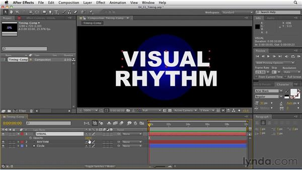 Understanding the role of timing in motion graphics: After Effects: Principles of Motion Graphics