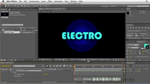 Creating and using markers: After Effects: Principles of Motion Graphics