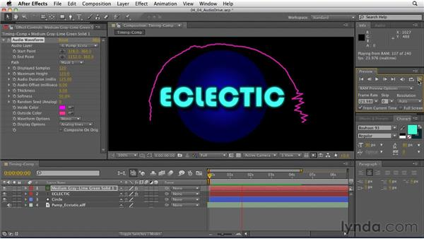 Using audio to create animated graphics: After Effects: Principles of Motion Graphics