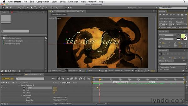 Using animators with type: After Effects: Principles of Motion Graphics