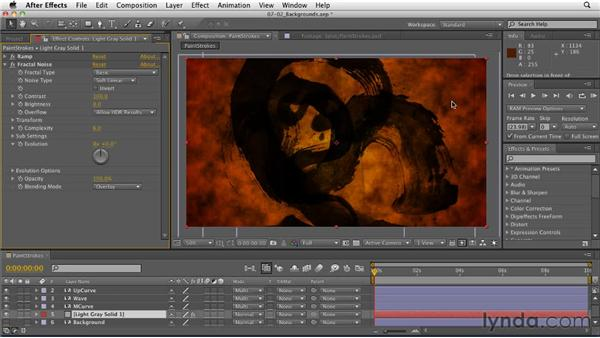 Building an animated background texture: After Effects: Principles of Motion Graphics