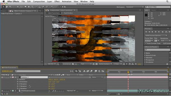 Adding dynamic elements to a video transition: After Effects: Principles of Motion Graphics