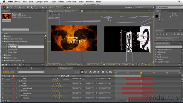 Creating bumper animations: After Effects: Principles of Motion Graphics
