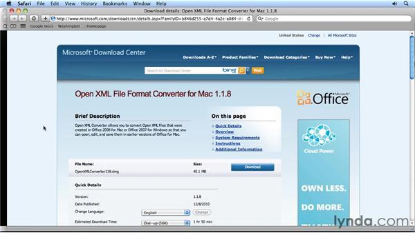 using the open xml converter for mac