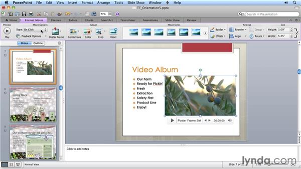 Adjusting imported movies on a slide: Migrating from PowerPoint 2008 for Mac to PowerPoint 2011