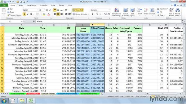 Setting special formats for dates, times, phone numbers, fractions, etc.: Excel 2010: Advanced Formatting Techniques