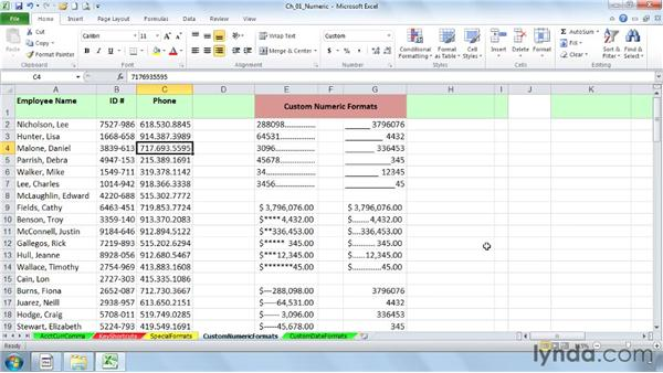 Building custom numeric formats: Excel 2010: Advanced Formatting Techniques
