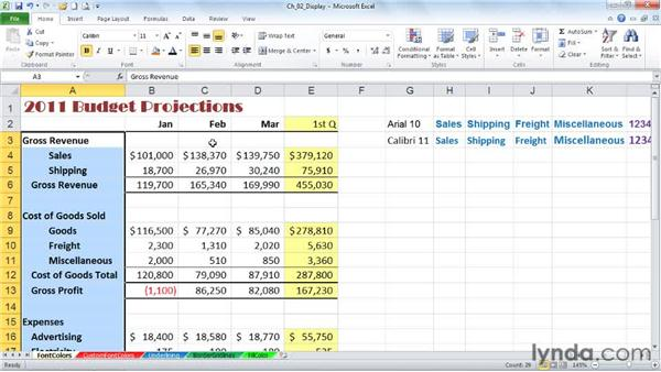 Applying and adjusting fonts and font colors: Excel 2010: Advanced Formatting Techniques