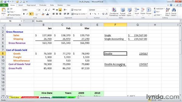 Applying underline, strikethrough, subscript, and superscript formatting: Excel 2010: Advanced Formatting Techniques