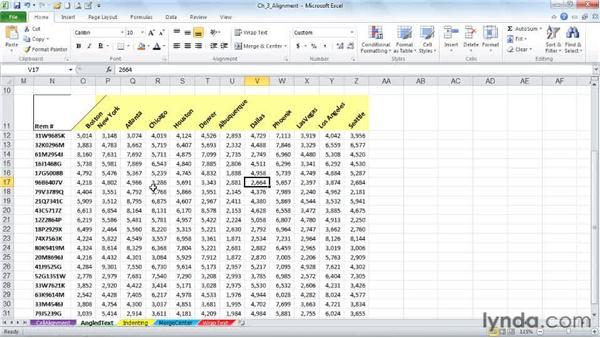 Creating angled text variations for greater variety and readability: Excel 2010: Advanced Formatting Techniques