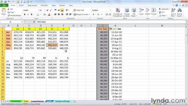 Copying formats quickly with dragging techniques and the Format Painter: Excel 2010: Advanced Formatting Techniques