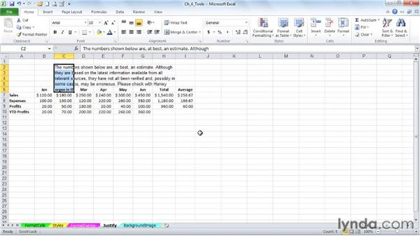 Formatting text from Word or the web with the Justify feature: Excel 2010: Advanced Formatting Techniques